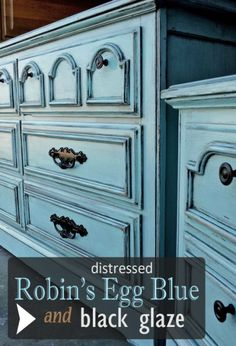 Dresser & Nightstand Given a New Life in Robin's Egg Blue & Black Glaze - DIY Inspiration from Facelift Furniture