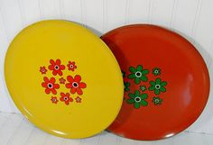 Retro Groovy Bistro Trays  Matching Set of 2 Funky by DivineOrders, $23.00