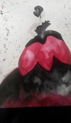 Red  black woman aquarelle
