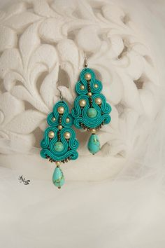 """Turquoise Chandelier Earrings Statement Earrings Jewelry Designs Drop Bohemian Large Jewelry Boho Chic Earrings Beaded Soutache Earrings Turquoise green earrings is made in soutache embroidery technique. I use turquoise gemstone, golden glass pearls, soutache braids. These dangle earrings are perfect gift for your evening dress and it is a good accessories for your especial day or night. Earrings The length: 11,5 cm / 4.33 inches'' Total width: 3 cm / 1.18"""""""