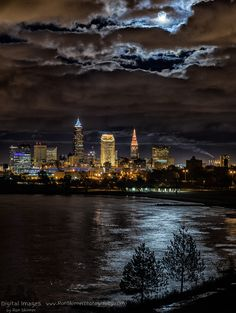 November Full Moon Over Cleveland (by Ron Skinner Photography)