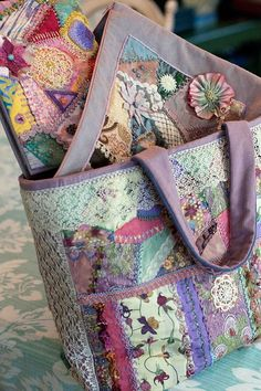 crazy quilting - I like the small square one with velvet trim