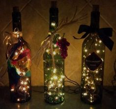 Christmas lights in wine bottles! Pretty cool idea :)