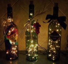 Christmas lights in wine bottles! Pretty cool idea :)