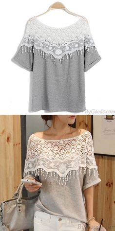 acb8c266c432 Sweet Hollow Lace Tassel Bat Sleeve T-shirt for big sale!  lace