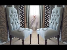 Breakfast Nook/Kitchen: DIY-HOW TO REUPHOLSTER A DINING ROOM CHAIR WITH BUTTONS. - ALOWORLD - YouTube