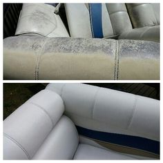 Our boat seats Before and after with SEM vinyl coat spray paint