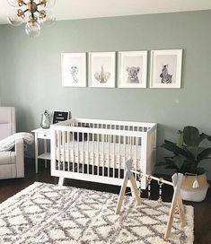 modern boho nursery decor, neutral nursery decor with modern crib boho rug and fiddle fig, boy nursery decor, girl nursery decor Baby Nursery Decor, Baby Decor, Accent Wall Nursery, Baby Nursery Ideas For Boy, Animal Theme Nursery, Jungle Theme Nursery, Simple Baby Nursery, Jungle Baby Room, Nursery Office Combo