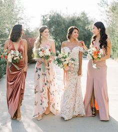 Bright Bridesmaids by Jenny Yoo, featuring romantic long luxe chiffon mismatched styles with flutter sleeves, halters and v-necks and above the knee skirt slits. These bridesmaids dresses shown in sha Patterned Bridesmaid Dresses, Spring Bridesmaid Dresses, Mismatched Bridesmaid Dresses, Wedding Bridesmaids, Bridesmaid Color, Destination Bridesmaid Dresses, Floral Bridesmaids, Wedding Dress Chiffon, Wedding Dresses