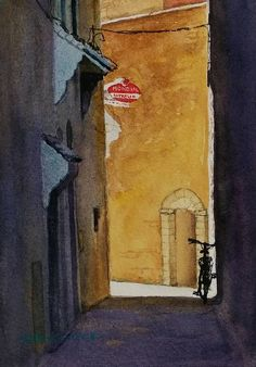 Small watercolour of a side street in Essaouira, Morocco. The owner of the bike had stopped for a coffee.