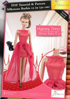 This pink dress is the perfect evening dress for your doll for the New year's eve. With a trendy design, this dress features a short skirt and two muslin sails on it that are flour length.