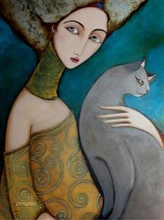 Faiza Maghni, Peintre autodidacte d'Oran qui vit à Paris Art Et Illustration, Illustrations, C D Friedrich, I Love Cats, Crazy Cats, She And Her Cat, Art Amour, Art Populaire, Inspiration Art