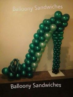 Red Carpet High Heel Shoe Balloon Sculpture Feather Boas