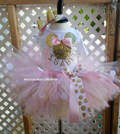 Beautiful 3 piece pink and gold minnie mouse birthday tutu outfit This includes Personalized shirt Tutu Headband Innotes at checkout please leave the fallo