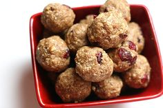 1 cup raw nuts 1 cup rolled oats  2/3 cups unsweetened shredded coconut  2 T milled flaxseed 1 tsp cinnamon  pinch of salt  2/3 cup nut butter 2-3 T pure maple syrup  or honey,1/2 tsp vanilla 1/3 cup dried cranberries    Grind the nuts and oats in a food processor. If too dry, add water 1T at a time. Roll into 1 1/2 inch balls. Store in an airtight container in the refrigerator. .