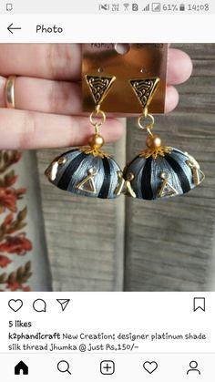 Silk Thread Bangles Design, Silk Thread Earrings, Thread Jewellery, Fabric Jewelry, Pearl Earrings, Drop Earrings, Jewelry Patterns, Terracotta, Necklace Set