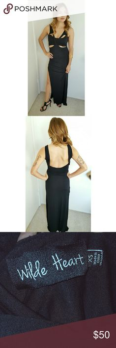 Wilde Heart | Maxi dress with cut outs Black Maxi dress with sexy cut outs.  Sleek fit. Elegant look with open back design. Worn once, in excellent condition. Wilde Heart Dresses Maxi