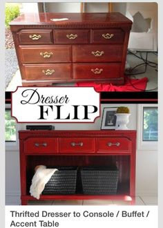 DIY Thrifted Dresser Into TV Console, Buffet, Accent Table