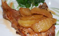 Caramel Apple Pork Chops  4 pork chops  1 tsp vegetable oil  2 tbsp brown sugar  salt and pepper   1/8 tsp cinnamon  1/8 tsp nutmeg  2 tbsp unsalted butter  2 apples  Preheat oven to 175. Heat skillet to medium-high heat. Brush chops lightly with oil and place in pan. Cook for 5-6 mins.   Combine brown sugar, salt and pepper, cinnamon and nutmeg. Add butter to skillet, and stir in brown sugar mixture and apples. Cover until apples are just tender. Put apples on chops and spoon sauce over
