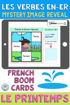 """This deck of French Boom Cards will get your students working with French Verbs. This deck focuses on """"les verbes en -ER au présent de l'indicatif"""". When the student gets the right answer, a piece of the image is revealed. Interactive and self-correcting way to practice French verb conjugation and grammar in context. For French Immersion and Core French students."""