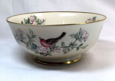 Lenox Serenade All Purpose (Cereal) Bowl Footed Gold Trimmed Bird Flowers EUC Lenox China, Cereal Bowls, China Dinnerware, Dining Room Table, Cyber, Women's Accessories, Mall, Purpose, Fine Jewelry