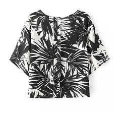 LUCLUC Black Leaf Printed Short Sleeve T-Shirt ($16) ❤ liked on Polyvore