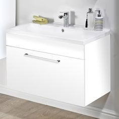 Idon Gloss White Wall Hung Basin Vanity Unit 600mm with 1 Drawer and White Basin - ID60WH-GW-CTB606 (1)