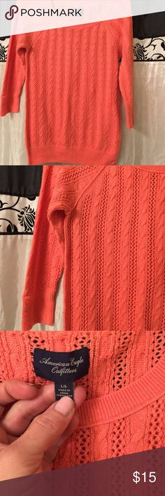 """Really cute coral color fall sweater. This is a very cute Fall sweater. The sleeves are 3/4"""" long. Coral color. American Eagle Outfitters Sweaters Crew & Scoop Necks"""
