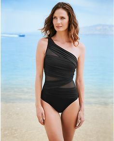 This one shoulder swimsuit is quite cute, but $150 is a bit steep for a swimsuit... Miraclesuit® Jena One-Piece Swimsuit - Solid | Eddie Bauer