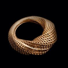 Mobius Gold Ring - Unique 14 kt Net Texture Ring, Twisted 14K Gold Ring, 3D Printed Ring for Women Sculptural Band, Avant Garde Urban Ring