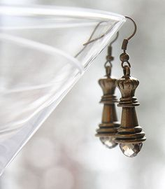 Chess Queen Earrings. Smoky Quartz Crystal. Antique by KapKaDesign