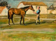 A Groom Holding a Bay Horse, near Stables: Alfred James Munnings (UK)