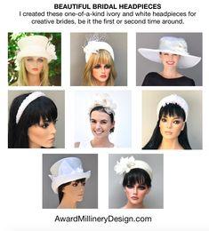 Unique white headpieces and hats from: AwardMillineryDesign.com Fascinators, Bridal Headpieces, Amy Ward, Ascot Hats, Church Hats, Wide-brim Hat, Wedding Hats, Top Hats, Derby Hats
