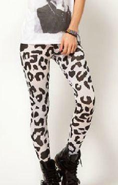 White Skinny Leopard Elasic PU Leggings US$28.64