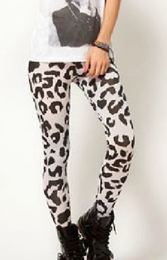 White Skinny Leopard Elasic PU Leggings