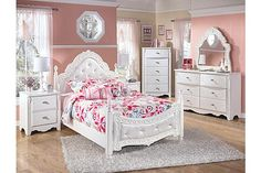"""The Exquisite Youth Poster Bed from Ashley Furniture HomeStore (AFHS.com). With the exquisite beauty of formal French style brought to life within a country motif, the """"Exquisite"""" youth bedroom collection is sure to create a sense of magic and wonder to any child's bedroom."""