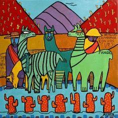 OBRAS : Claudio Baldrich Artista Plastico Mosaic Art, Aztec, Folk Art, Alpacas, Prints, Painting, Fictional Characters, Ideas, Murals