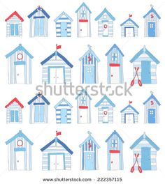 Hand Drawn Blue and Red Beach huts Beach Huts Art, Hut Images, Seaside Pictures, Seaside Bathroom, Beach Drawing, Pottery Houses, Fidget Quilt, Red Beach, Free Motion Embroidery