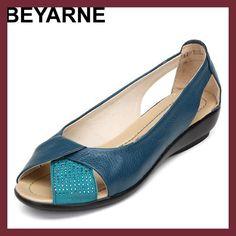 BEYARNE Plus size 35-43 genuine leather shoes open toe women platform sandals mocassin sapatilhas sandalias sapatos femininos