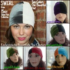 Swirl...our TWO color beauties are Available in Country, Organization, Team, School or your Favorite Colors. Swirl Hats make Spectacular Gifts, come in matching Family Sets and are Available in Children's sizes. Add Color, Style and Beauty to your Coat with Warm, Luxurious Swirl Hats from our CANDY Velvet Hat & Scarf Collection Today.  Stylishly Colorfully Luxuriously Beautifully YOU! #beautifullyoucouture #swirl #hats #gifts #scarves