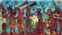 Mural fragment from Bonampak of musicians and dancers. Note the vibrant blue color, Maya blue. Public domain, via Wikimedia Commons