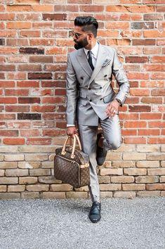 Latest Coat Pant Designs Sliver Grey Double Breasted Blazer Men Suit Wedding Suits for Men Slim Fit Tuxedo 2 Piece Vestiddos F Gentleman Mode, Gentleman Style, Mens Fashion Blog, Estilo Fashion, Fashion Menswear, Sharp Dressed Man, Well Dressed Men, Terno Slim Fit, Old School Style