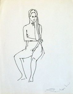 ARTFINDER: Seated Model, 25x33 cm by Frederic Belaubre - Original drawing, ink on paper    Reminder: receive a FREE GIFT with ANY 3 or more of my artworks ordered at the same time !
