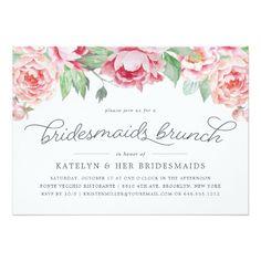 Antique Peony Bridesmaids Brunch Invitation