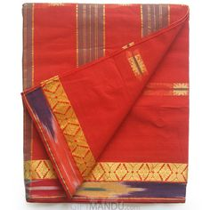 Bangali Cotton Saree - Light Red Cotton With Golden Border Send Gifts, Gifts For Mom
