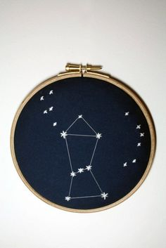 This is so lovely, and such a great way to document and display your favorite constellation. (Mine is Casseopia since it looks like an M, and the Southern Cross). Chloe Giordano [http://www.etsy.com/listing/76580061/orion-constellation-embroidery]