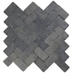 so nice for shower floor Grey Herringbone Stone Mosaic Tile houzz Stone Mosaic Tile, Marble Mosaic, Mosaic Tiles, Pebble Tiles, Wall Tiles, Subway Tiles, Tiling, Brick Fireplace, Fireplace Surrounds
