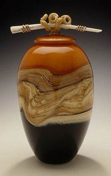 Gartner-Blade Strata covered jar.