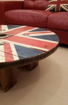 Reclaimed Cable Drum Rustic Union Jack Coffee by RusticArtDesign, $245.00