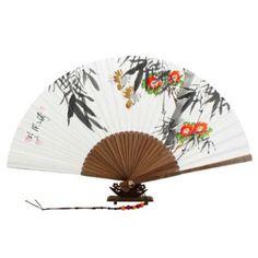 Abanico Blanco Pintado A Mano Desplegable en Papel de de Arroz de Morera Decoración Asia Oriental Corea Arte de Bambú con Diseño de Camelias Rojas